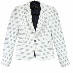 Zara xs white and navy stripe blazer